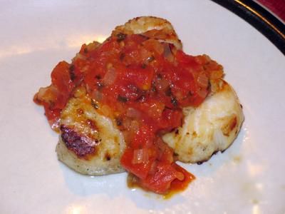 Grilled Scallops with Bruschetta
