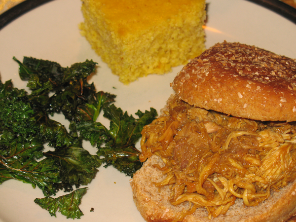 Crock Pot Pulled Chicken with Maple Cornbread and Kale Chips