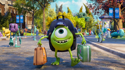 Mike Wazowski arriving at MU