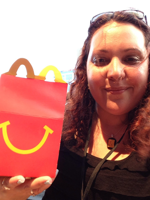 Me, with my Happy Meal dinner at the BlogHer closing party