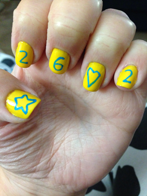 Nails celebrating being a Star Pacesetter for the 2014 Boston Marathon Jimmy Fund Walk
