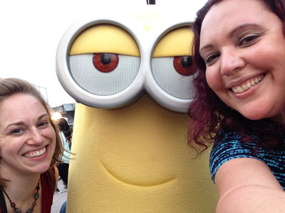 Kait, a Minion, and me at the BlogHer15 party hosted by McDonalds