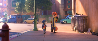 Judy Hopps (Ginnifer Goodwin) confronting Nick Wilde (Jason Bateman)