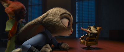 Judy Hopps (Ginnifer Goodwin) faces off against Mr. Big (Maurice LaMarche)