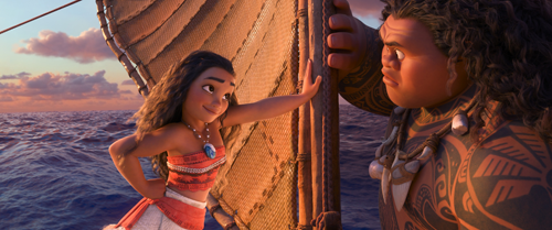Moana (Cravalho) and Maui (Johnson)